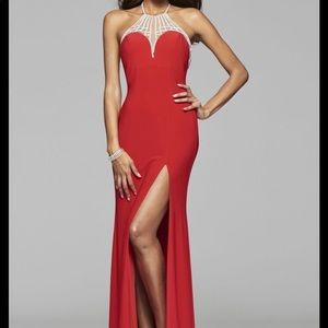 Faviana 7727 Red Sequin Mesh Prom Gown Size 4